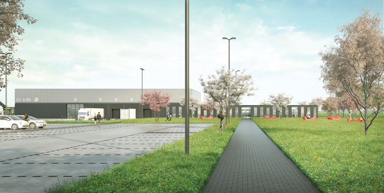 Artist impression hoofdentree Integraal Logistiek Centrum (c) cepezed